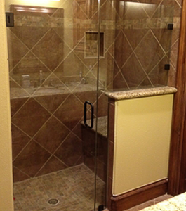 Shower Door With Inline Panel and Notched Pony Wall